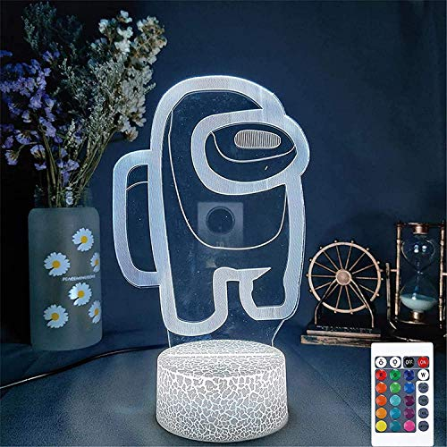 HonCon Lámpara de mesa de ilusión 3D, 16 colores, lámpara de mesa de juegos, atmósfera de mesita de noche para niños, regalo de cumpleaños o decoración de dormitorio