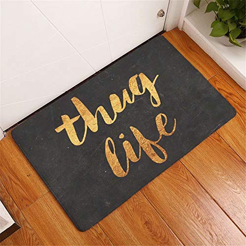 YQ Park Decorative Office Foyer Hall Living Room/Bathroom Carpet Thug Life Gold Letters Black