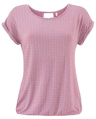 ELFIN ELFIN Damen T-Shirt Kurzarm Blusen Shirt mit Allover-Minimal Print Lose Stretch Basic Tee, Rosa, L