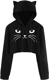 Women Sweatshirt Long Sleeve Makulas Cat Print Drawstring Casual Fashion Tunics Pullover Loose Comfy Blouse T-Shirt Tops