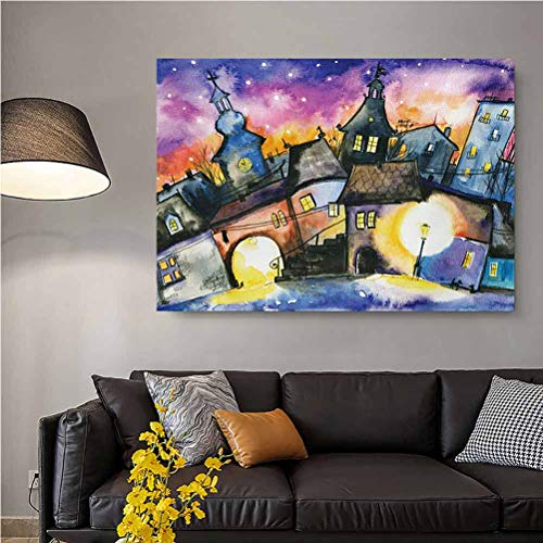 ScottDecor Abstract Christmas Wall Art Funky Watercolors Paint Small Town Weird Angles at Night Sky Reflections Mist Image Gifts for Women Multi L20 x H40 Inch