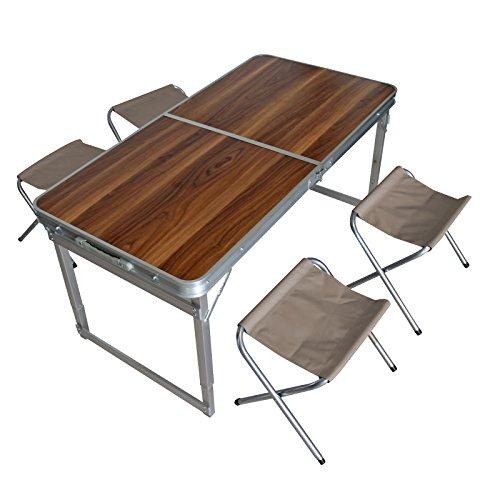 Camping-Set Klapptisch Campingtisch Gartentisch Picknicktisch Tisch 4x Stühle im Holzdesign