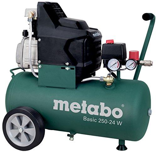 Metabo Kompressor Basic (1500 Watt, 24 Liter, 8 bar, Ansaugleistung 220 Liter/Minute , Druckminderer, Überlastschutz, Ölfrei) 601532000, 601585000