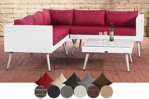 CLP Polyrattan Eck-Loungeset MOLDE I Weiß I Gartenlounge I Eck-Sofa + Glastisch I 1,25mm Rattandicke 40 cm (Hellgrau), rubinrot