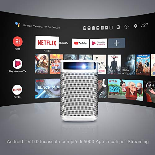XGIMI MOGO Videoprojecteur Portable, Android TV 9.0 Intégré et Google, 210ANSI LM Mini projecteur, Youtube et Plus de 4000 Applications, WiFi et Bluetooth