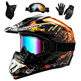 WEITY Casco da Motocross Set con Occhiali Guanti Face Mask, per bambini e adulti, casco da motociclista AVT MX integrale per Downhill Offroad Enduro Scooter Sport (Orange,M)