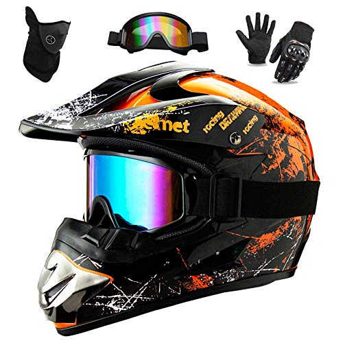 WEITY Casco da Motocross Set con Occhiali Guanti Face Mask, per bambini e adulti, casco da motociclista AVT MX integrale per Downhill Offroad Enduro Scooter Sport (Orange,L)