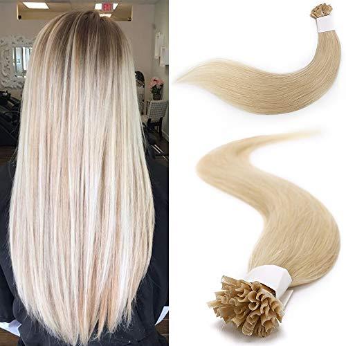 100 Mèches Extension Cheveux Naturel Keratine 1g - Rajout Cheveux a Chaud Vrai Cheveux Humain (40cm, 100g, 60 BLOND PLATINE)