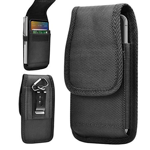Tiflook Phone Holster for LG Wing Velvet V60 V50 V40 K92 5G K22 K51 K31 K40 K20 Stylo 5 4 3 G8X G8S G8 G7 ThinQ Q70 Heavy Duty Rugged Nylon Carrying Case Pouch with Belt Clip Loops Card Holder, Black