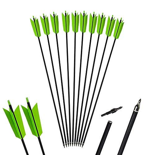 AMEYXGS 6 / 12pcs Bogenschießen Carbonpfeile 400 Spine Flu Flu Pfeile mit 4 echten natürlichen Federn für Compound- und Recurve-Bögen (grün, 6pcs)