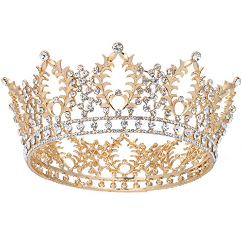 Makone Vintage Crowns for Women, Queen Princess Crown Tiaras with Crystal, Girls Adult Bridal Hair Accessories Gifts for Halloween Costume,...