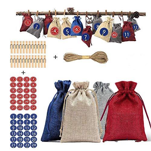Ammiy 24 Stück Jutesäckchen Jute-Beutel Jute-Sack für Adventskalender Weihnachten Hochzeit DIY Geschenk Jutebeutel Stoffbeutel Baumwolle mit Kordelzug Natur Säckchen Geschenksäckchen Sack Beutel