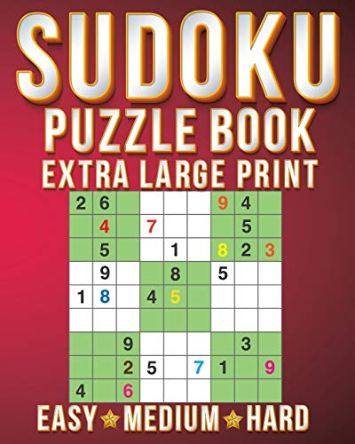 Riddles For Adults: Sudoku Extra Large Print Size One Puzzle Per Page (8x10inch) of Easy,Medium Hard Brain Games Activity Puzzles Paperback Books with  for Men/Women & Adults/Senior