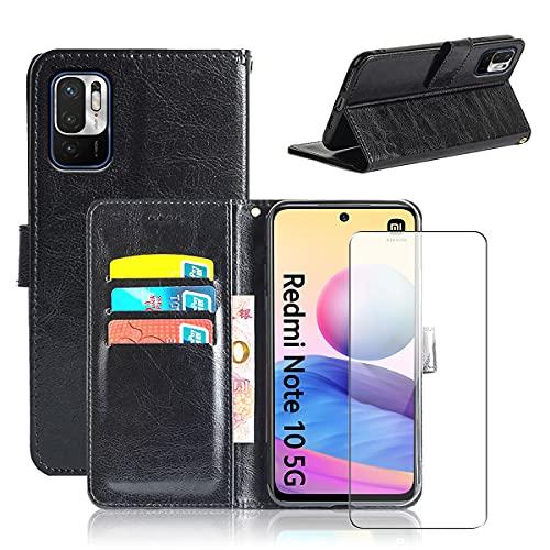 Coque pour Redmi Note 10 5G, Noir PU Cuir à Rabat Flip Housse Étui avec Un Verre Trempé Film Protection Écran pour Xiaomi Redmi Note 10 5G / POCO M3 Pro 5G (6,5 Pouces)