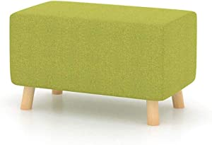 ZPF Portable Ottoman Upholstered Sofa Stool, Cloth Living Room Shoe Bench Ottoman Clothing Store Fitting Stool Household Bed Stool Footstool 56×32×28cm Heavy Duty Chair (Color : Green)