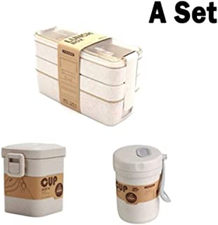 900ml Portable Healthy Material Lunch Box 3 Layer Wheat Straw Bento Boxes Microwave Dinnerware Food Storage Container Foodbox (Color : A SET)