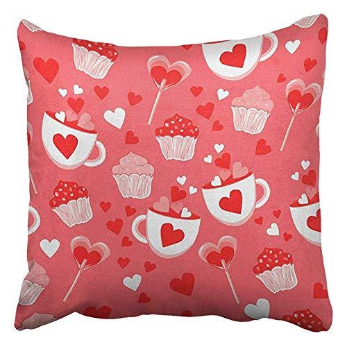 tyui7 Funda de Almohada Decorativa Happy Valentine's Day Cupcake Lollipop Candy Funda de Almohada Decorativa Decoración para el hogar Square 45x45 cm Funda de Almohada
