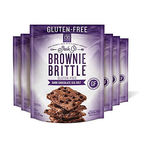 Sheila G's Brownie Brittle Gluten Free Dark Chocolate Chip Sea Salt- Low Calorie, Sweets & Treats Dessert, Healthy Chocolate, Thin Sweet Crispy Snack-Rich Brownie Taste w/ Cookie Crunch- 4.5oz, 6 Pk