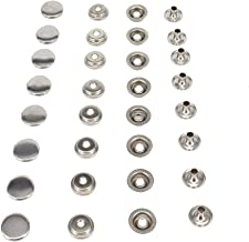 """HKOO Snap Fasteners 100% Stainless Steel Boat Marine Canvas Upholstery Snaps Cap - Socket - Stud - Eyelet All Four Parts,15mm Cap (80 Pieces) (5/8""""Stainless Steel)"""
