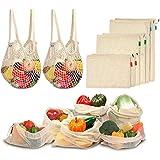 Viedouce Bolsas Compra Reutilizables, 8 PCS Bolsas de Malla Reutilizables Lavables, Bolsas de Algodon Reutilizables para Frutas Verduras,Reutilizable Producir Bolsas (2*S, 2*M, 2*L,2*XL)