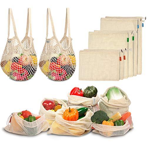 Viedouce 8 Paquet Sacs Produits Réutilisables Fruits,Sac Reutilisable Legumes en Coton avec Serrage,Sacs Réutilisables en Maille,Sacs d'Epicerie,Sacs en Tissu Bio pour Shopping,Lavable en Machine