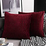 DEZENE Rot Kissenbezüge: 2er Pack 50cmx50cm Original Gestreifte Samt Quadratische Dekorative Kissenbezüge für Schlafzimmercouch