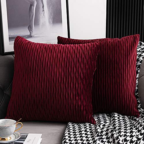 DEZENE Rot Kissenbezüge: 2er Pack 40 cm x 40 cm Original Gestreifte Quadratische Dekorative Kissenbezüge aus Samt für Schlafzimmercouch