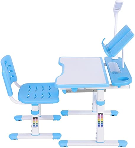 Childrens Desk Chair Set, Adjustable Study Table Chair Reading Frame Eye Protection Lamp for Kids Girls Boys Students