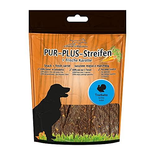 PUR Plus Lot de 10 bandes à mâcher Dinde + carotte 100 g Sans gluten Sans céréales Sans autres ingrédients, sans aucun additif Idéal pour les chiens sensibles et les personnes allergiques de seulement 1 seule espèce animale.