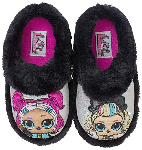 L.O.L. Surprise! Girls Slipper, Easy Slip-on Plush Scuff, 80s BB and VRQT,Kids Size 4-5, Black Silver