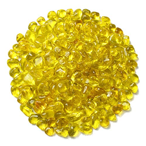WAYBER Glass Stones, 1Lb/460g Irregular Sea Glass Pebbles Non-Toxic Artificial Glaze Crystal Stones for Vase Filler/Table Scatter/Aquarium Decoration/Gems Displaying, Yellow