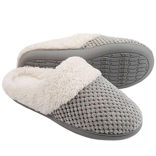 ULTRAIDEAS Women's Comfort Coral Fleece Memory Foam Slippers Fuzzy Plush Lining Slip-on Clog House Shoes for Indoor & Outdoor Use(Grey,9-10)