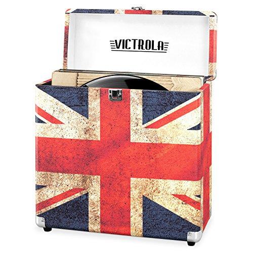 Victrola Vintage Vinyl Record Storage Carrying Case for 30+ Records, UK Flag