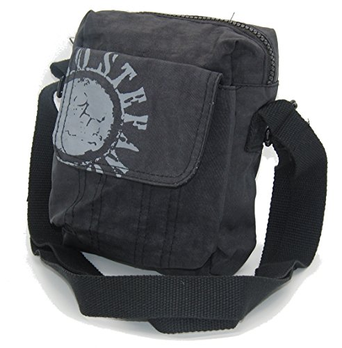STEFANO Umhängetasche Crinkle Nylon Handtasche Rucksack Shopper Tasche Bauchtasche Verschiedene Modelle -präsentiert von RabamtaGO®- (klein-Schwarz)