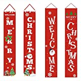 Dujie Navidad decortaion para el hogar 4pcs rojo Navidad Banners Set Feliz Navidad bandera bandera bandera Navidad bienvenida porche signo para puerta delantera pared hogar decoración fiesta