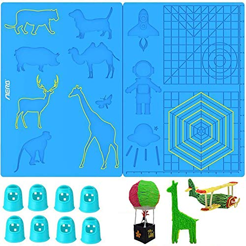 VEGCOO 3D Printing Pen Mat, Multi-Shaped Silicone 3D Pen Drawing Template with 8 Finger Protectors, As Gift for 3D Beginners/Kids/Adults (1)