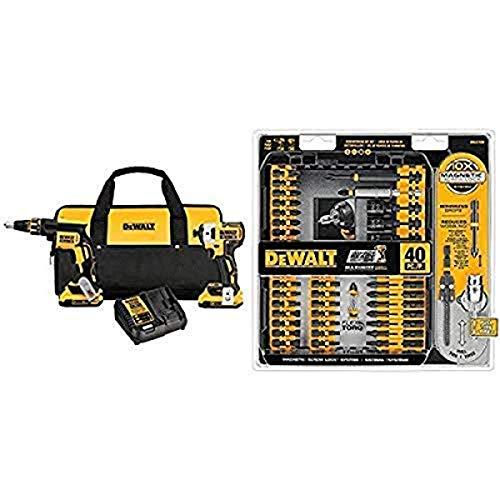 DEWALT DCK267D2 20V MAX XR Drywall Screwgun & Impact Driver Kit with DEWALT DWA2T40IR IMPACT READY FlexTorq Screw Driving Set, 40-Piece