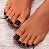 press on toenails - Campsis 24PCS Matte False Toe Nails Solid Color Fake Toenails Short Square Fake Nails for Toes Full Cover Press on Acrylic Art Tips for Women and Girls (black)