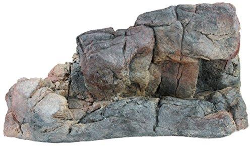 Acuami Terrarium Wand-Plateau, Fels-Plattform für Reptilien und Amphibien, Terraristik-Zubehör, Deko in Stein-Optik (L 37x16,5x17,5)