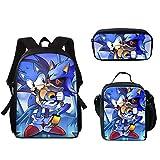 Paquete de comidas Sonic 3 uds, animados, mochila escolar con cremallera, bolsas para ordenador portátil, mochilas escolares para niños, mochila grande, mochila