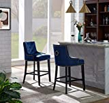 Iconic Home Lyric Counter Stool Chair Button Tufted Velvet Upholstered Nailhead Trim Swoop Arm Seat Pull Ring Espresso Finished Tapered Wood Legs Modern Transitional, NAVY