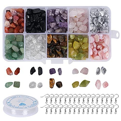 Pulluo Kit de Cuentas de Piedra Natural 10 colores de 4-8mm Cuentas de Piedra Irregular con Ganchos Caja Portátil Hilo de Cristal Elástico para Bricolaje Collares Pulseras HacerJoyería Accesorios