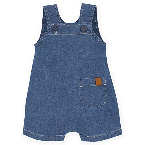 Pinokio - Summer Nice Day - Baby Mädchen Jungen Unisex Latzhose mit Knöpfen Jeans Blau Baumwolle Overall Dunagrees Strampler Sommer 62-86 cm (62, Jeans)