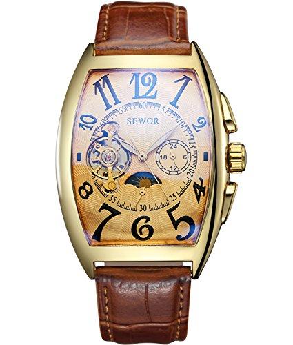 SEWOR de Lujo para Hombre Tourbillon Fase de la Luna automático mecánico Banda de Cuero Reloj de Pulsera Cristal Azul (Oro marrón)