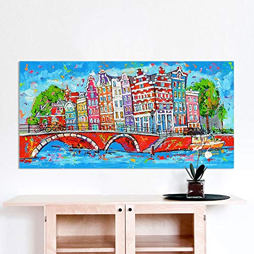 Vrolijk Schilderij Wall Art Picture City Amsterdam Canvas Oil Painting Landscape Print Home Decor D 50x100cm No frame