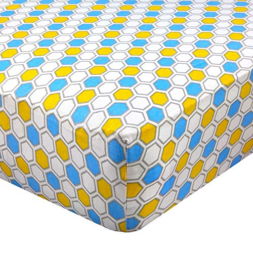 Abstract Fitted Crib Sheet for Standard and Full Size Cribs and Toddler Beds - 28' x 52' - Ultra Soft, 100% Jersey Knit Cotton - Hypoallergenic Nursery Bedding - Honeycomb Blue