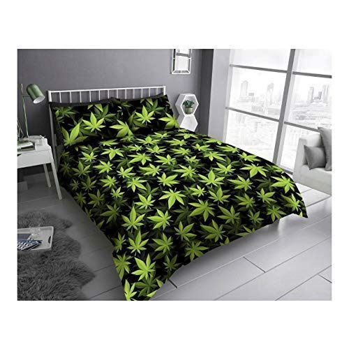 FAIRWAYUIK Weed Leaf Duvet Cover Marijuana Cannabis Quilt Bedding Set With Pillowcase (Black/Green, Double)