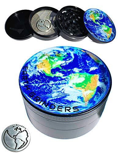 EARTH GRINDERS 3 Inch Grinder, Large Herb Grinder, DOUBLE Your Pollen Build Up With Earth Coin, Spice Grinder, Herbal Grinder