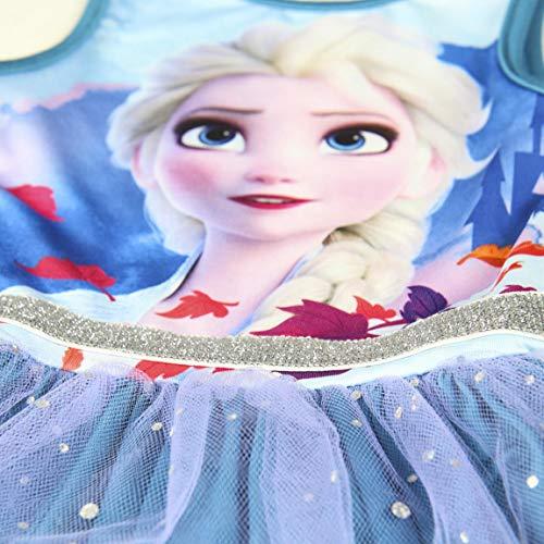 Disney Frozen 2 Vestido para Niñas, Falda Tul Tutú Ballet Brillante 3D, Vestido Manga Corta Princesa Fiesta Cumpleaños, Regalo para Niñas, 2 a 6 Años (6 Años)