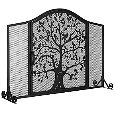 MyGift Black Wrought Iron Fireplace Screen Door with Silhouette Tree & Bird Design from MyGift
